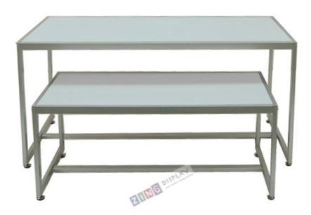 Nesting Table Set In Silver And White